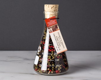 Large 5 Pepper Mix in Science Flask with  featuring Organic Whole, Black, Extra–Bold, Incredibly Aromatic Tellicherry Peppercorns