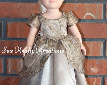 """Gold Sparkly Princess Doll Gown for 18"""" doll like American Girl"""