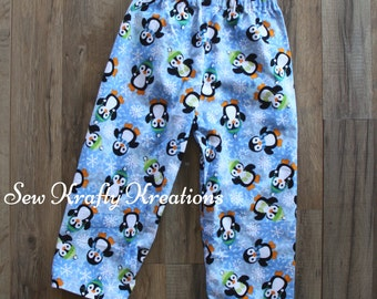 Children's Flannel Lounge Pants - Blue with Penguins