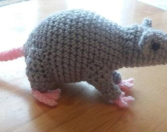 Crocheted Amigurumi Rat