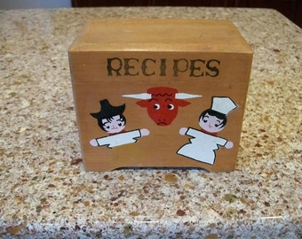 Vintage Japanese Wooden Recipe Box