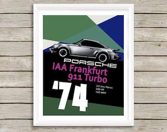 "Porsche 911 Turbo Art, Automotive Art, 1974 Porsche 911 Turbo, Garage Art, Instant download, Porsche 911 Poster, Cars, 8x10"", 11x14"", 16x20"""
