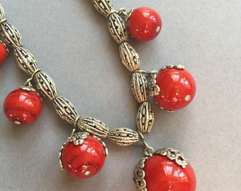 1920's Deco Red Drop Glass Bead Necklace