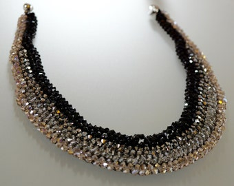 Beaded Black Silver Cream Crystal Necklace