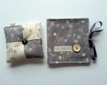 Needle book and pincushion set Linen look cotton Perfect gift idea for a crafter sewing crochet knitter UK SELLER.