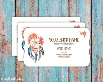Business Cards - Custom Business Cards - Personalized Business Cards - Mommy Calling Cards - Floral Dreamcatcher - P0114-7