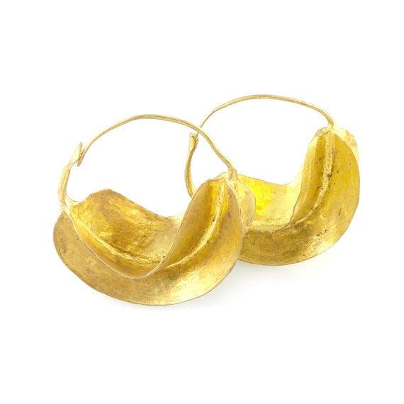 Fulani Earrings: Small Gold Plated African Fulani Earrings