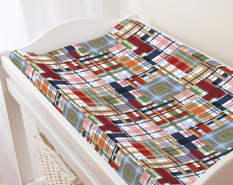 Carousel Designs Patchwork Plaid Changing Pad Cover