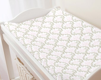 Carousel Designs Pink and Taupe Damask Changing Pad Cover