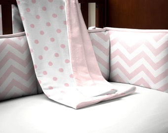 Girl Baby Bedding: White and Pink Polka Dot Crib Blanket by Carousel Designs