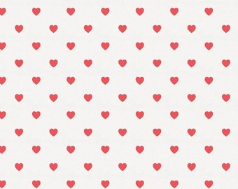 Coral Hearts Organic Fabric - By The Yard - Girl / Boy / Neutral