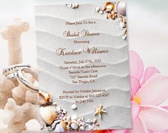 Beach Bridal Shower Invitations Tropical Destination Seashells And Starfish  Make Your Own Editable Word Printable Template