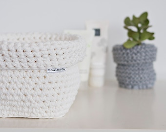 Crocheted Basket, creamy white Square  Basket,  Crocheted bowl, Hand Crocheted, Storage Solutions