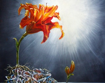 Red flower in darkness surrealist ORIGINAL painting