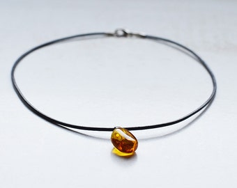 Pendant with leather/ baltic amber/ light color/ polished amber/ mild form/ best quality