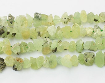Raw Prehnite Beads -- chip nugget loose bead