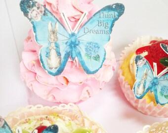 35 Edible Butterflies, Edible Peter rabbit, cupcake toppers, cake decoration, Edible butterflies, wafer paper,