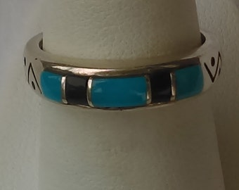 Native american band ring black jet and turquoise gems on crafted sterling stamped and signed