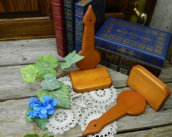 Set of 2 Vintage Mid Century Hand Made Wood Accent Knick Knack Shelves