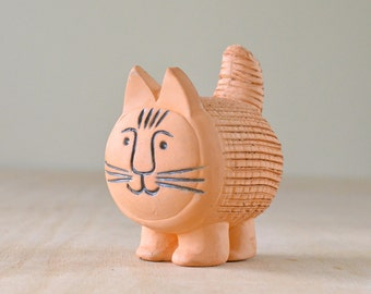 Vintage Chia Pet Cat or Lion, Lisa Larson Style  | Mid-century Modern, Garden Sculpture Pottery in Terra Cotta, Made in Mexico