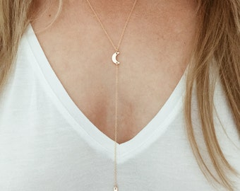 Crestent Moon Y Lariat Necklace in 14/20 Gold Fill or Sterling Silver