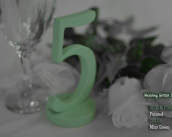 Mint Green Table Numbers, Mint Green Wooden Table Numbers, Mint Green Decorations, Mint Wedding, Set of 1-30 Mint Green