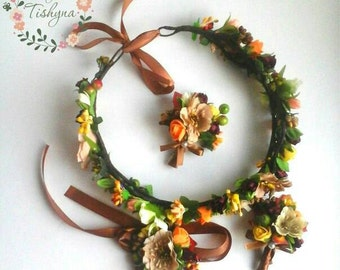 Rustic floral woodland bridal flower crown fall wedding crown autumn wreath bridal hairpiece ivory burnt Orange flower girl newborn
