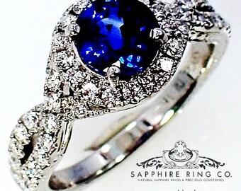 New Platinum Sapphire Diamond Ring, 1.32 ct Round Cut Ceylon Sapphire - 3078