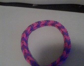 Purple and pink rubber band bracelet
