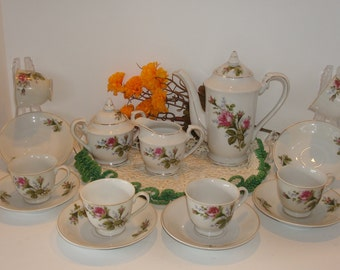 1950'S Demitasse Tes Set Hand Painted China with Roses