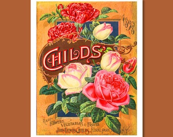 John Lewis Childs Seed Catalogue Print, Botanical Catalogue, Botanical Art Print, Catalogue Cover Illustration, Flower Décor, F009