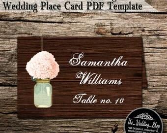 Instant Download- Rustic Hydrangea & Mason Jar DIY Printable PDF Wedding Reception Place Cards/ Name Cards