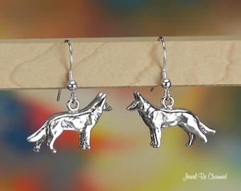 Dutch or German Shepherd or Malinois Earrings Sterling Silver Dog .925