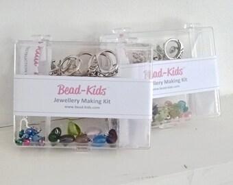 DIY Jewellery Making Kit for Kids - Make 8 keyrings, Craft Kit, Beading Kit, Beads for Kids, Keyring Kits