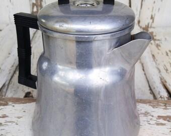 Retro Metal Aluminum Percolator Coffee Pot Brewer