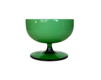 Mid Century Cased Glass Bowl, Green, White, Pedestal Bowl