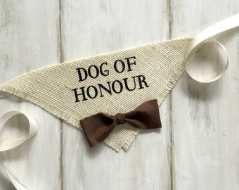 Dog Wedding Bandana Canadian French Spelling Dog of Honour Wedding Collar Bowtie Engagement Photos Proposal Bridal Gift Save the Date Cards