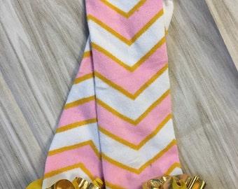 Pink and gold Chevron ruffle leg warmers - chevron leg warmers