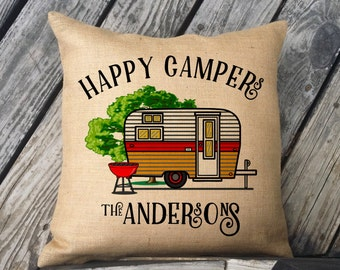 Personalized Happy Campers Burlap Pillow, Vintage Camper w/Last Name, Camping Gift, Personalized Gift, Trailer Decor, Camper Decor, SPS-184