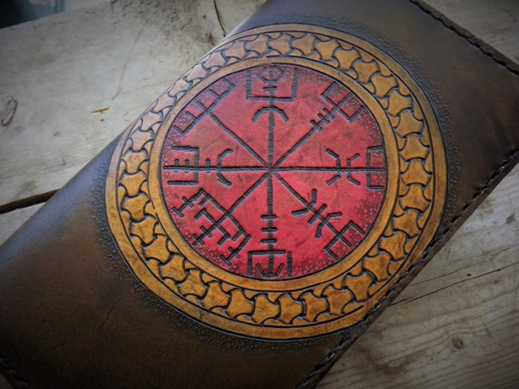 Viking Vegvisir Design - Leather Journal - 8x5.25 Moleskin Cover