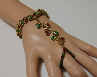 Slave Bracelet/ Handflower/Amber and Emerald Colors/ Brass/Removable Stretch Ring/ Adjusts to Fit