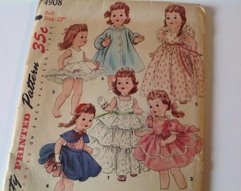 Vintage 50s simplicity original printed pattern 4908 23 inch doll wardrobe