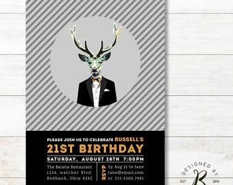 21st Birthday Invitation - Adult Birthday Invitations for Men - 30th, 40th, 50th Party Invites - AB04 Gray, Deer