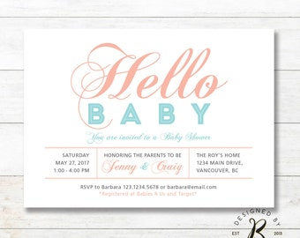Unique Baby Shower invitation, Couples / Coed Baby Girl Shower Invitations - girl baby shower Invites - BabyShower_BBS11