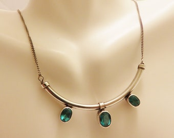 Sterling Silver Bar Blue Glass Stone Necklace