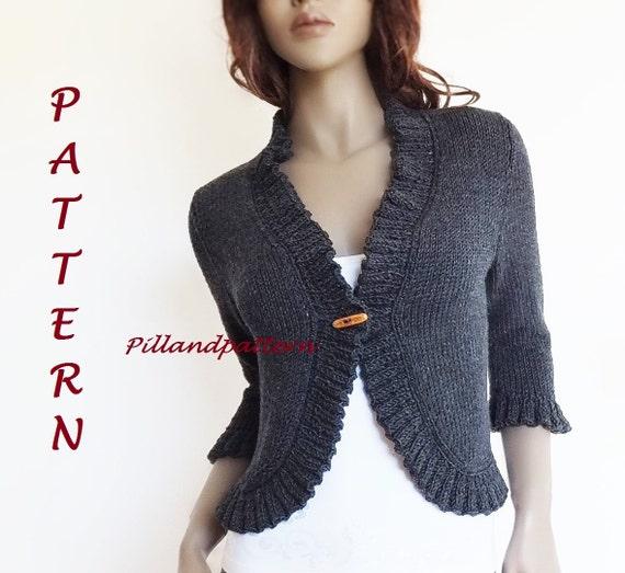 Knitting Pattern Womens Bolero Ruffled Borders Cardigan