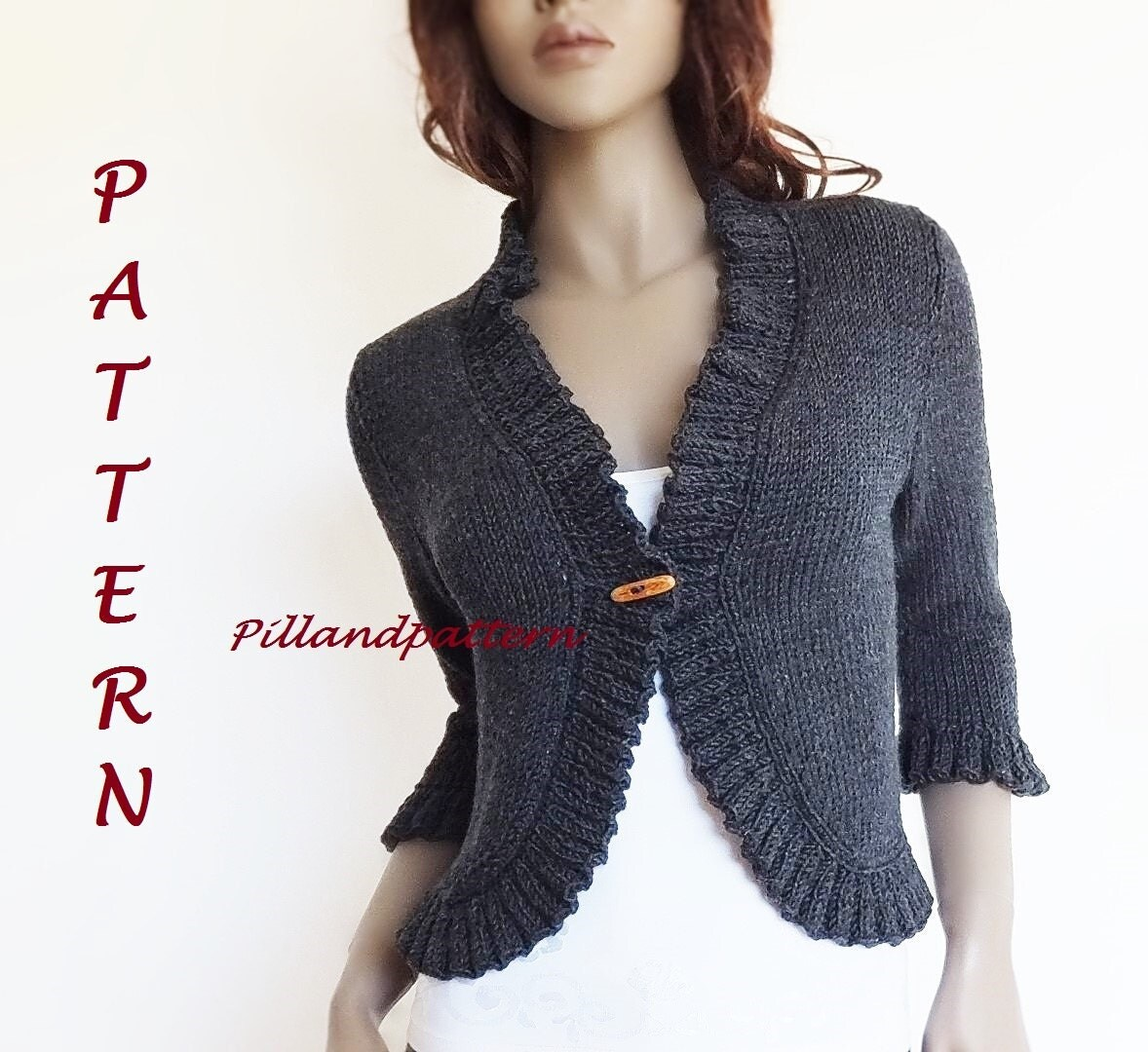 Women s Cardigan Knitting Patterns : Knitting Pattern Womens Bolero Ruffled Borders Cardigan