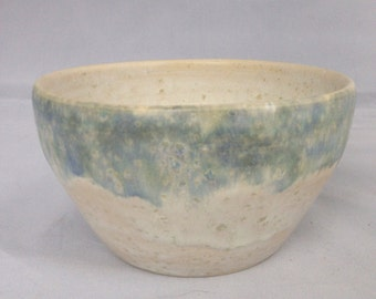 Lapping at the Shore - wheel thrown stoneware bowl, painted by hand with reactive oxides & Sea Salt glaze, one of a kind