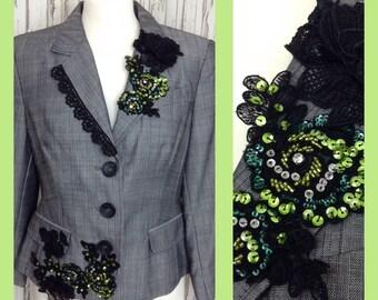 Women's Blazer Jacket Appliquéd with Black Lace, Flowers & Sequin Trims // Alternative Formal Wear, Smart Customised  // Gothic, Alternative