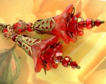 Lucite Earrings, Vintage Style Earrings, Victorian Earrings,Hand Painted Earrings, Handmade Earrings, Red Earrings, Victorian Earrings